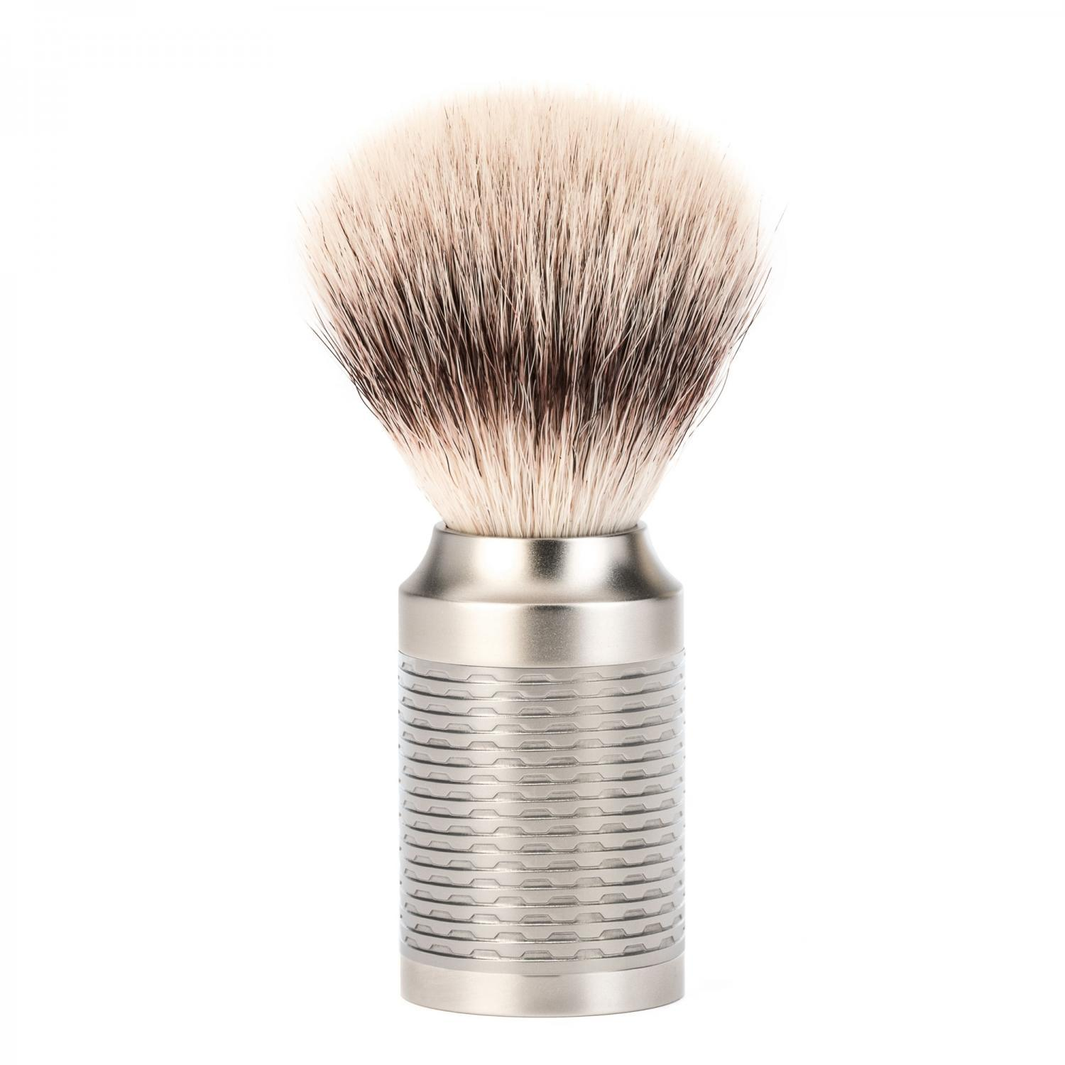 ROCCA Pure Matt Stainless Steel Silvertip Fibre Shaving Brush
