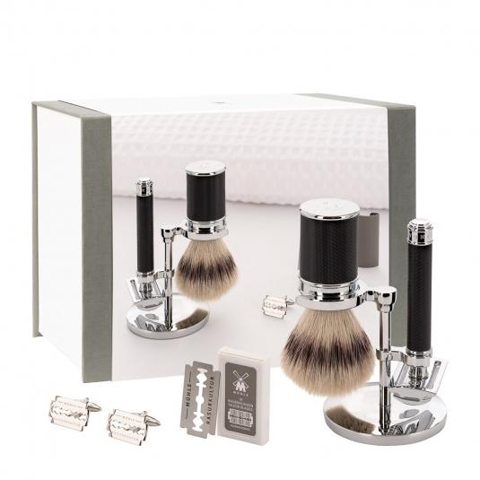 MUHLE Black Silvertip Fibre and Safety Razor Shaving Gift Set