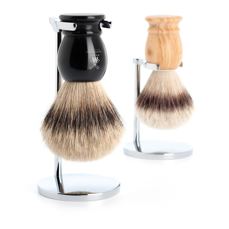 Pictured: The CLASSIC shaving brush in both Silvertip Badger and Silvertip Fibre