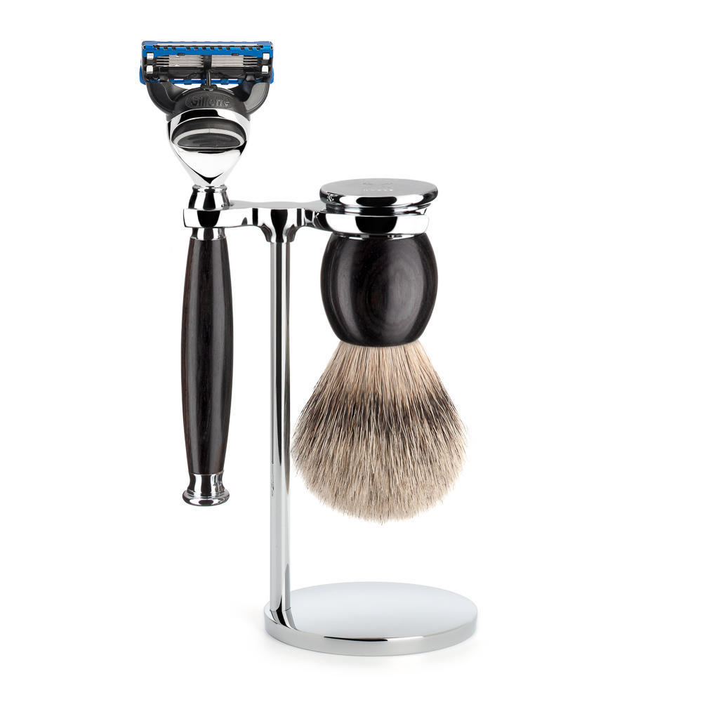 MUHLE SOPHIST Silvertip Badger Brush and Fusion Razor Shaving Set in Grenadille with Stand - S93H85F