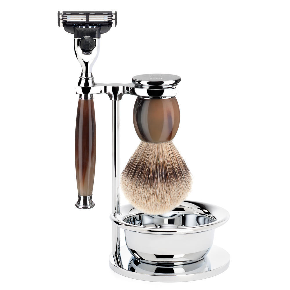 MUHLE SOPHIST Silvertip Badger Brush and Mach3 Shaving Set in Horn with Bowl and Stand - S93B42SM3