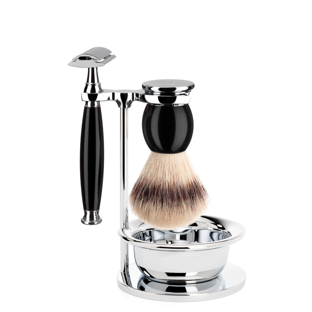 MUHLE SOPHIST Silvertip Fibre Brush and Safety Razor Shaving Set in Black with Bowl and Stand - S33K44SSR