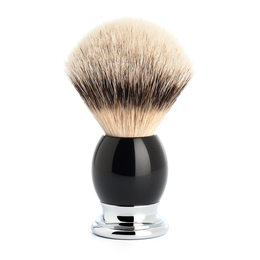 MUHLE SOPHIST Black Resin and Chrome Silvertip Badger Shaving Brush - 93K44