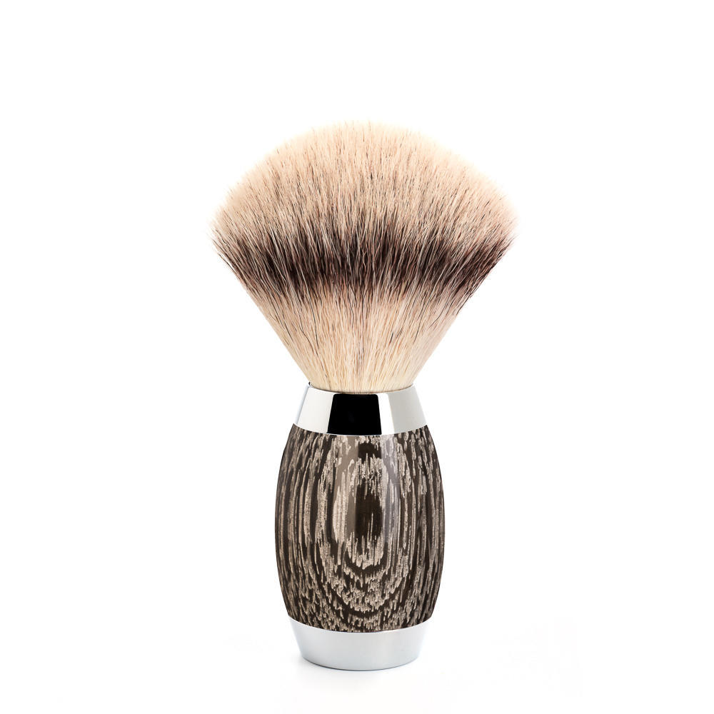 EDITION No. 3 Bog Oak & Sterling Silver Silvertip Fibre Shaving Brush - 433ED3