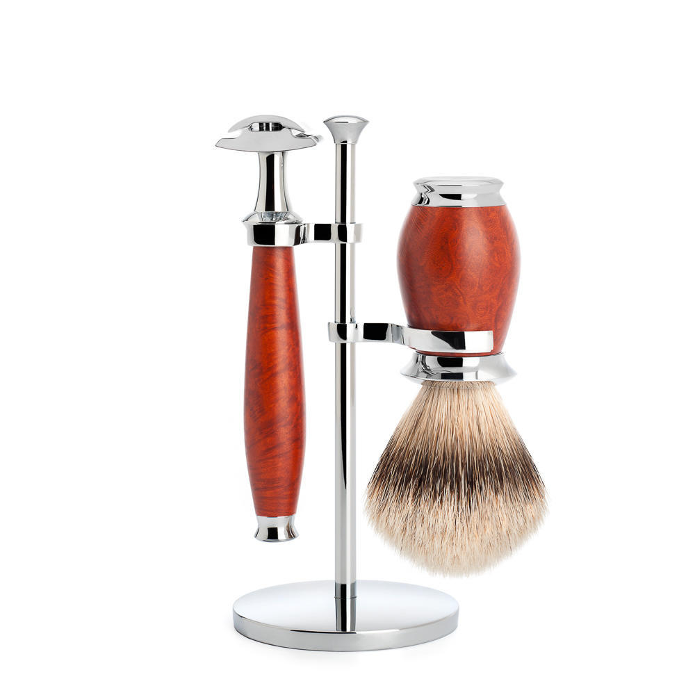 MUHLE PURIST Silvertip Badger Brush and Safety Razor Shaving Set in Briar Wood with Stand - S091H59SR