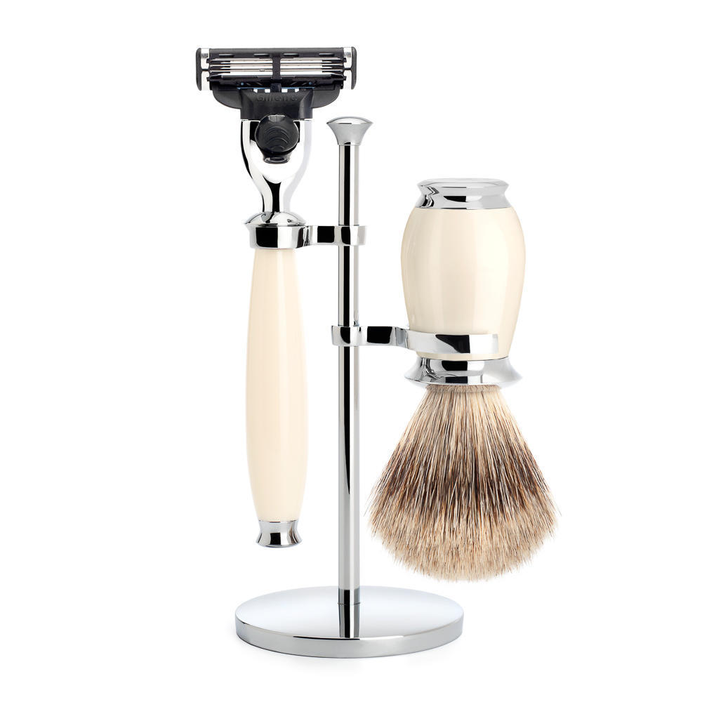 MUHLE PURIST Fine Badger Shaving Brush and Mach3 Razor Shaving Set in Ivory with Stand - S281K57M3