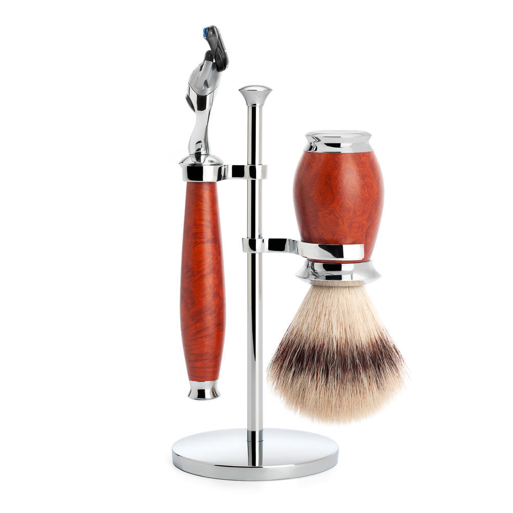 MUHLE PURIST Briar Wood Silvertip Fibre Shaving Brush and Fusion Razor Shaving Set with Stand  - S31H59F