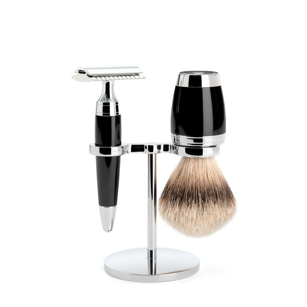 MÜHLE STYLO 3-piece shaving set in black Incl. silvertip badger shaving brush and safety razor