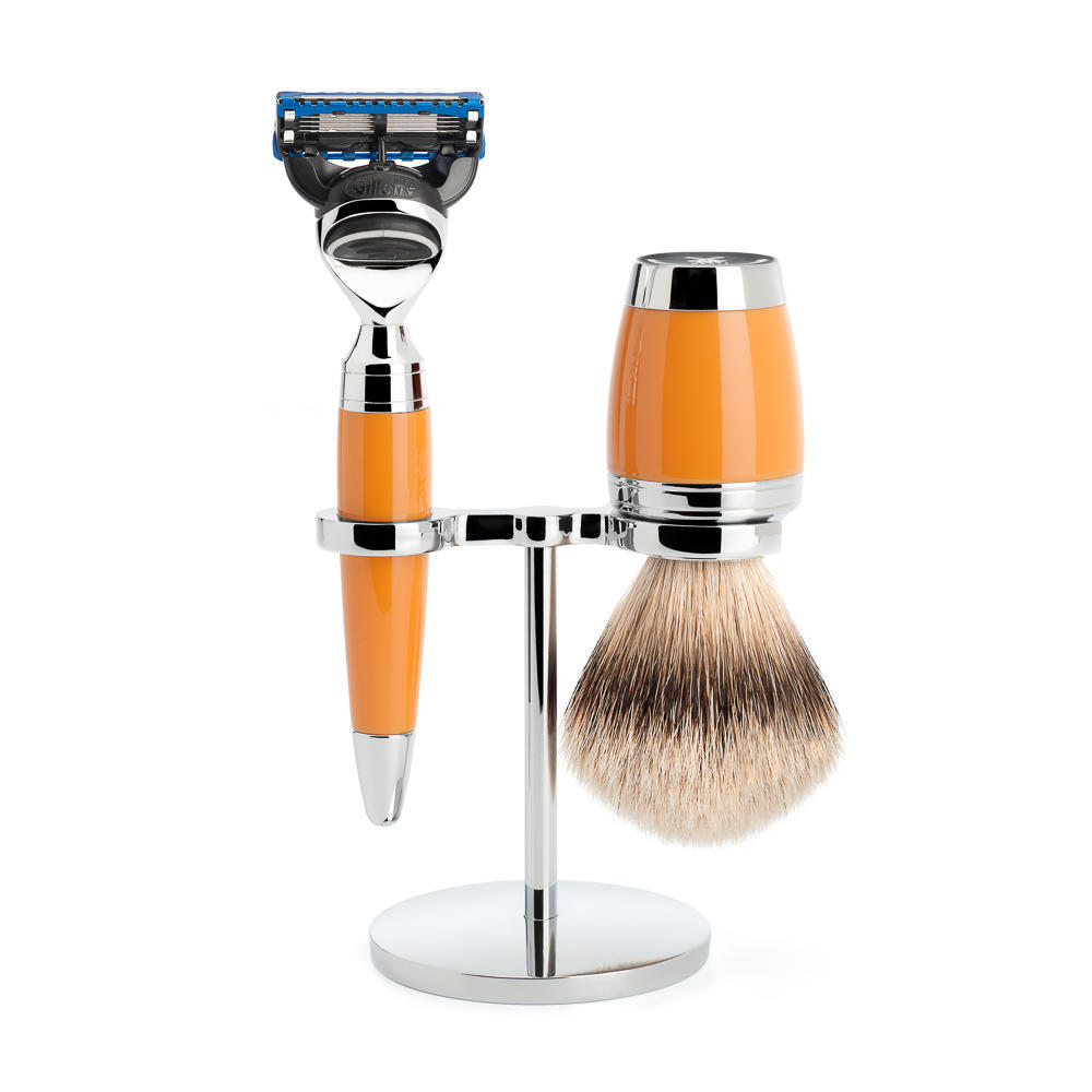 MÜHLE STYLO 3-piece shaving set in butterscotch Incl. silvertip badger shaving brush and Fusion razor