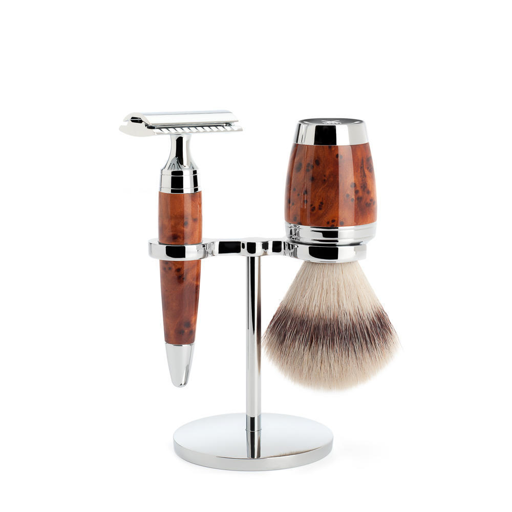 MÜHLE STYLO 3-piece shaving set in thuja wood Incl. silvertip fibre shaving brush and safety razor