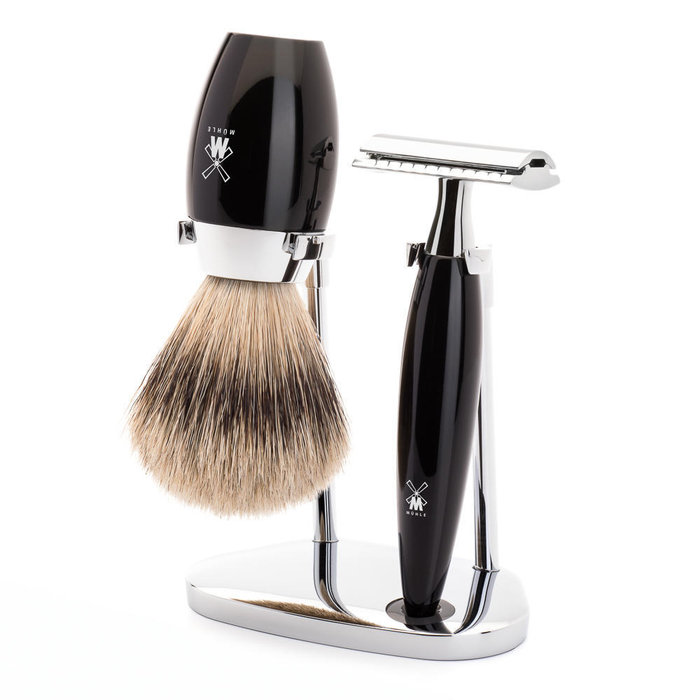 MÜHLE KOSMO 3-piece shaving set in Black Incl. silvertip badger shaving brush and safety razor