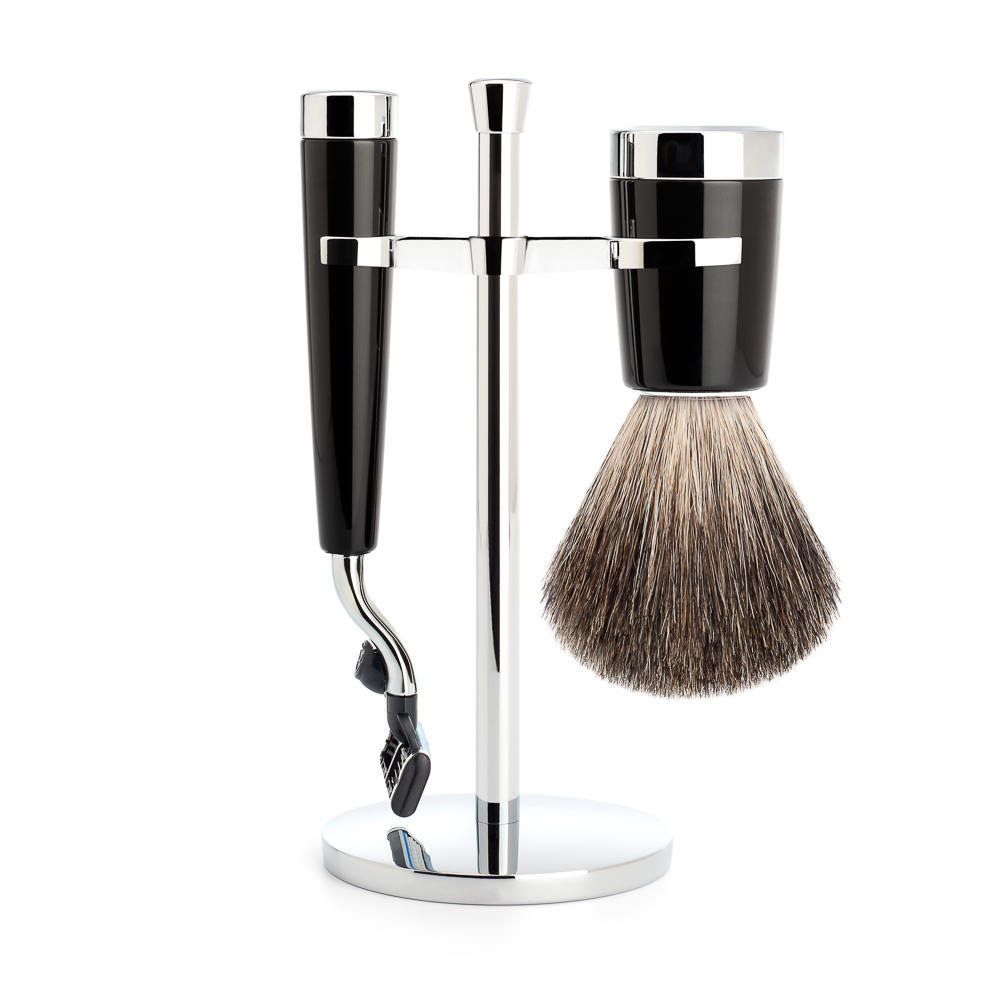 MUHLE LISCIO Black 3-piece Pure Badger Brush and Mach3 Shaving Set - S81M146M3