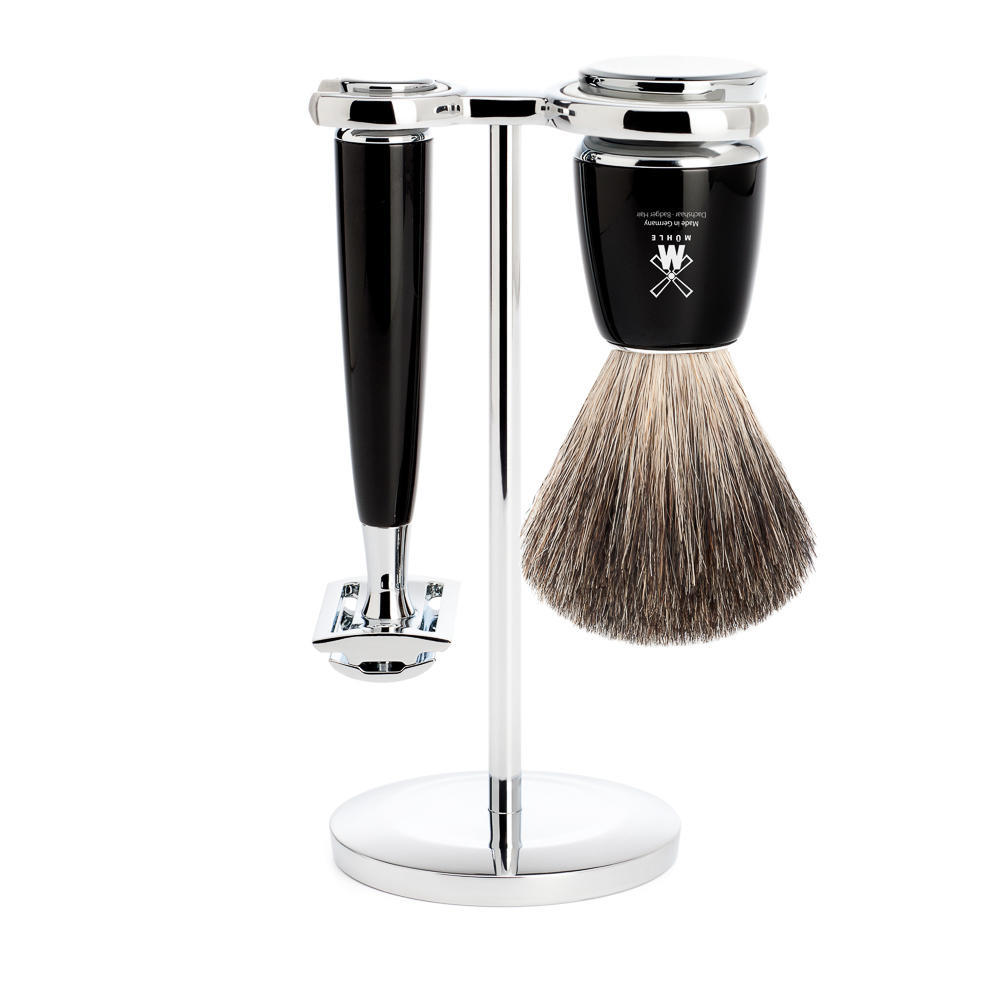 MUHLE RYTMO Black 3-piece Pure Badger Brush and Safety Razor Shaving Set - S81M226SR