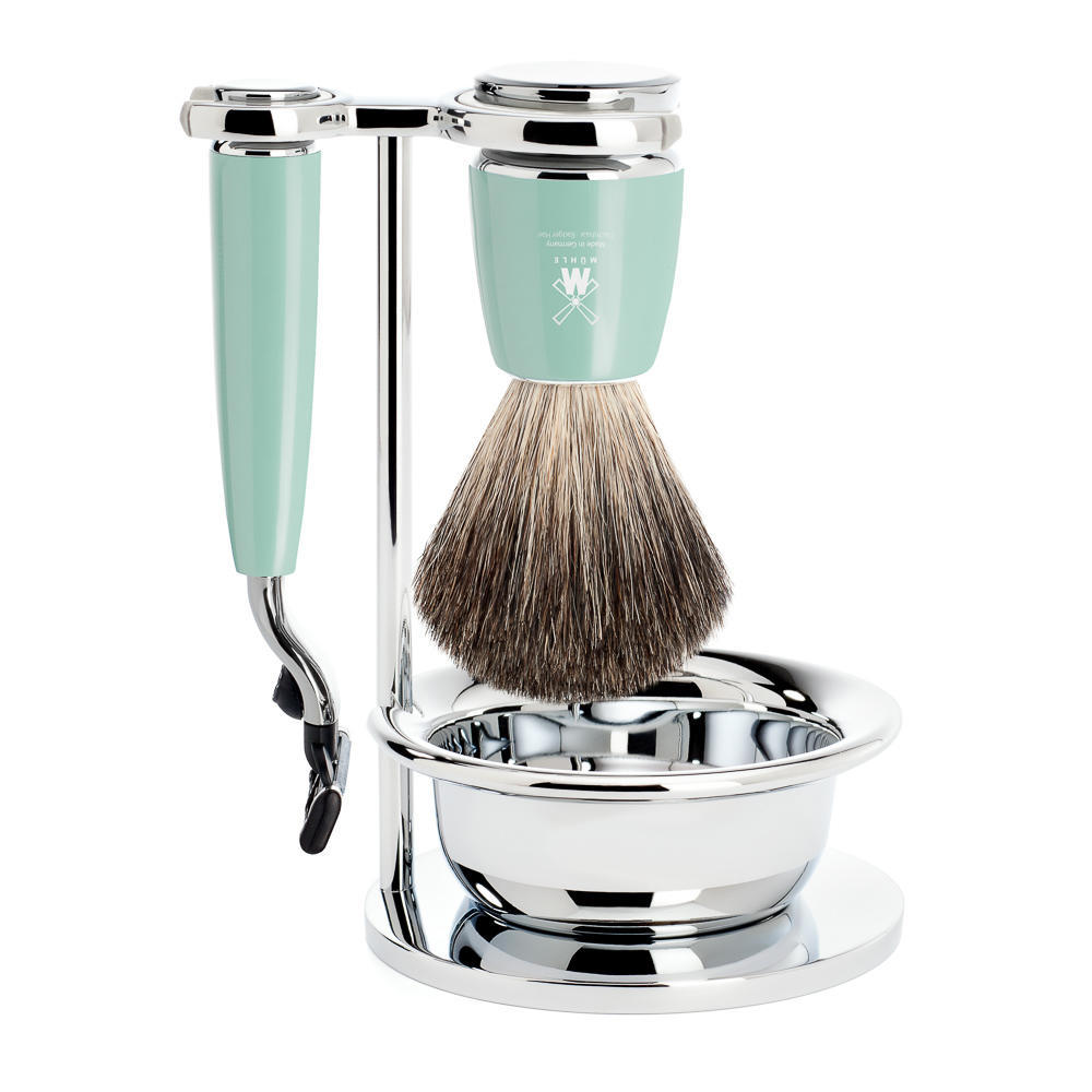 MUHLE RYTMO Mint Resin 4-piece Pure Badger Brush and Mach3 Razor Shaving Set - S81M224SM3