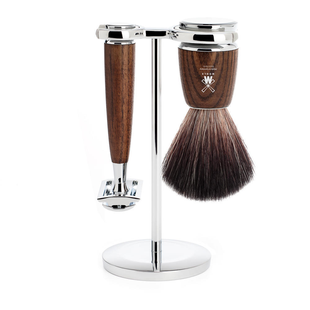 MUHLE RYTMO Steamed Ash 3-piece Black Fibre Brush and Safety Razor Shaving Set - S21H220SR