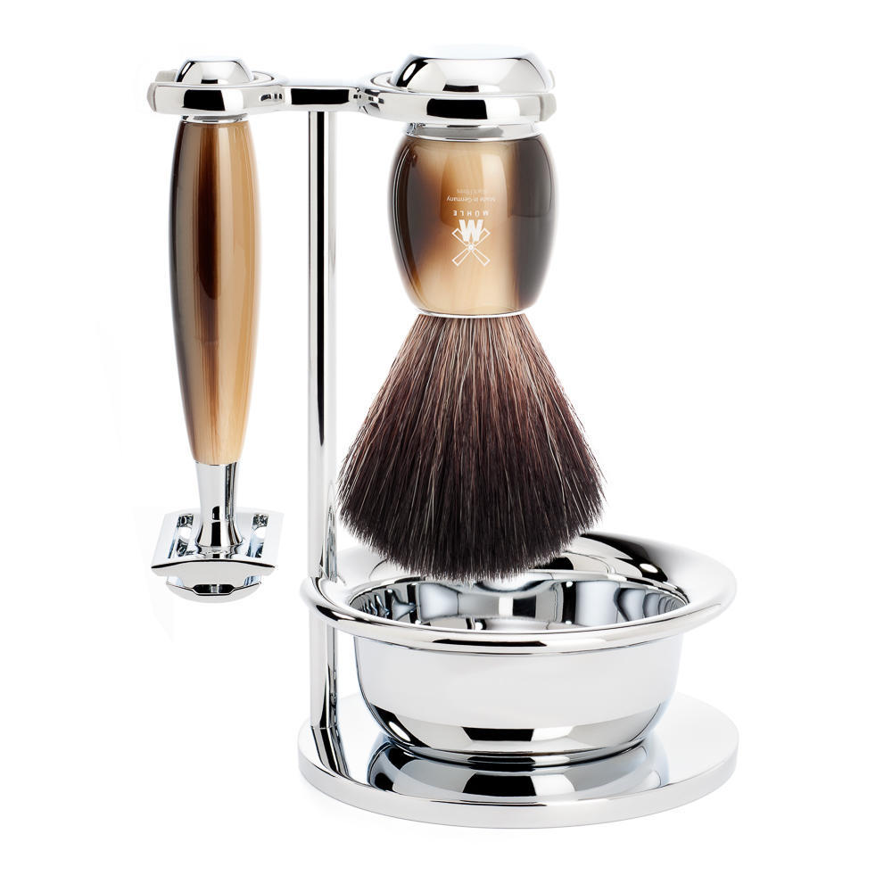 MUHLE VIVO Brown Horn Resin 4-piece Black Fibre Brush and Safety Razor Shaving Set with Stand and Bowl - S21M332SSR