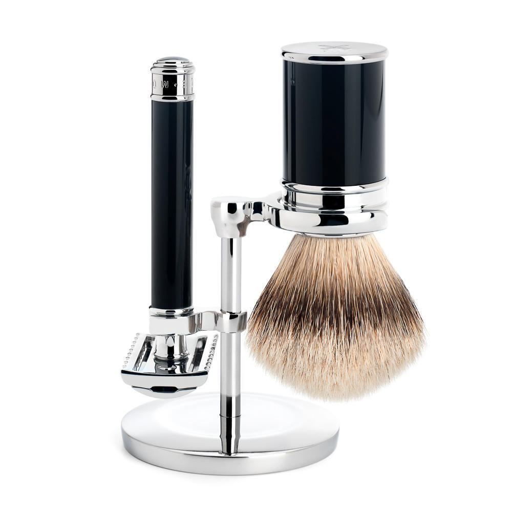 MUHLE Black Silvertip Badger Brush and Open Comb Safety Razor Shaving Set - S091M101