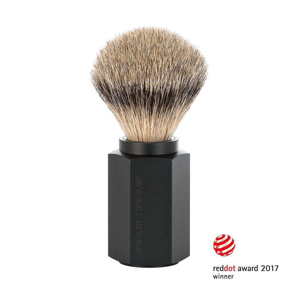 MUHLE HEXAGON Graphite Silvertip Badger Shaving Brush - 091MHXGGRAPHITE
