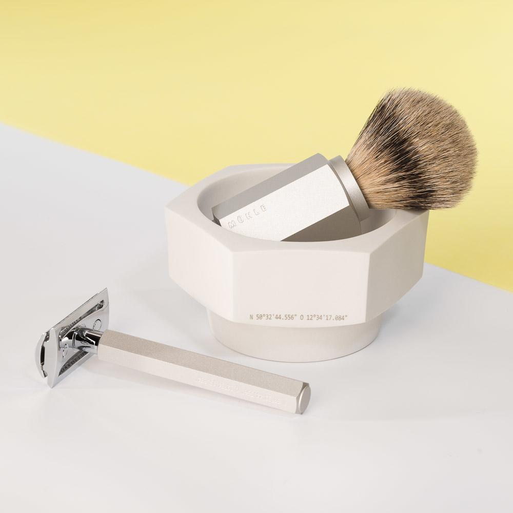 MUHLE HEXAGON Silver Handle, Silvertip Badger Shaving Brush