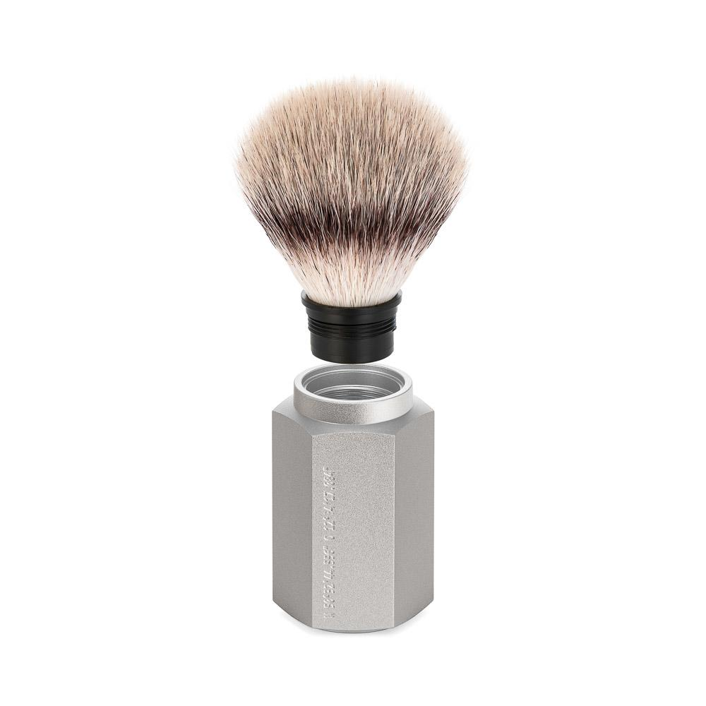 MUHLE HEXAGON Series silver handle, silvertip fibre shaving brush