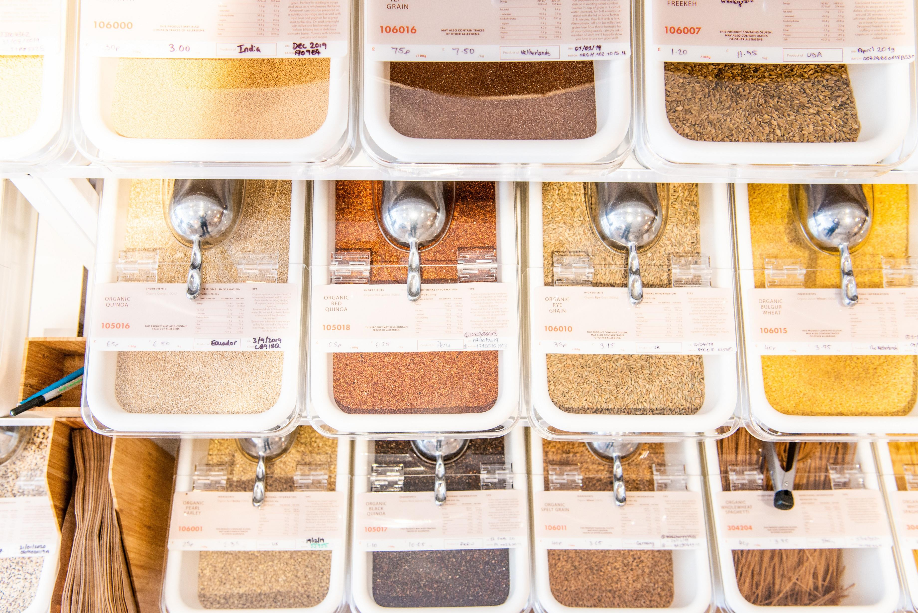 Zero Waste Loose Grain and Spices Refill Station at The Source Bulk Foods Store