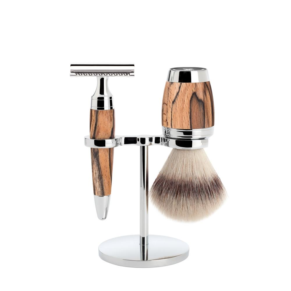 MÜHLE STYLO Spalted Beech 3-piece Silvertip Fibre / Safety Razor Shaving Set