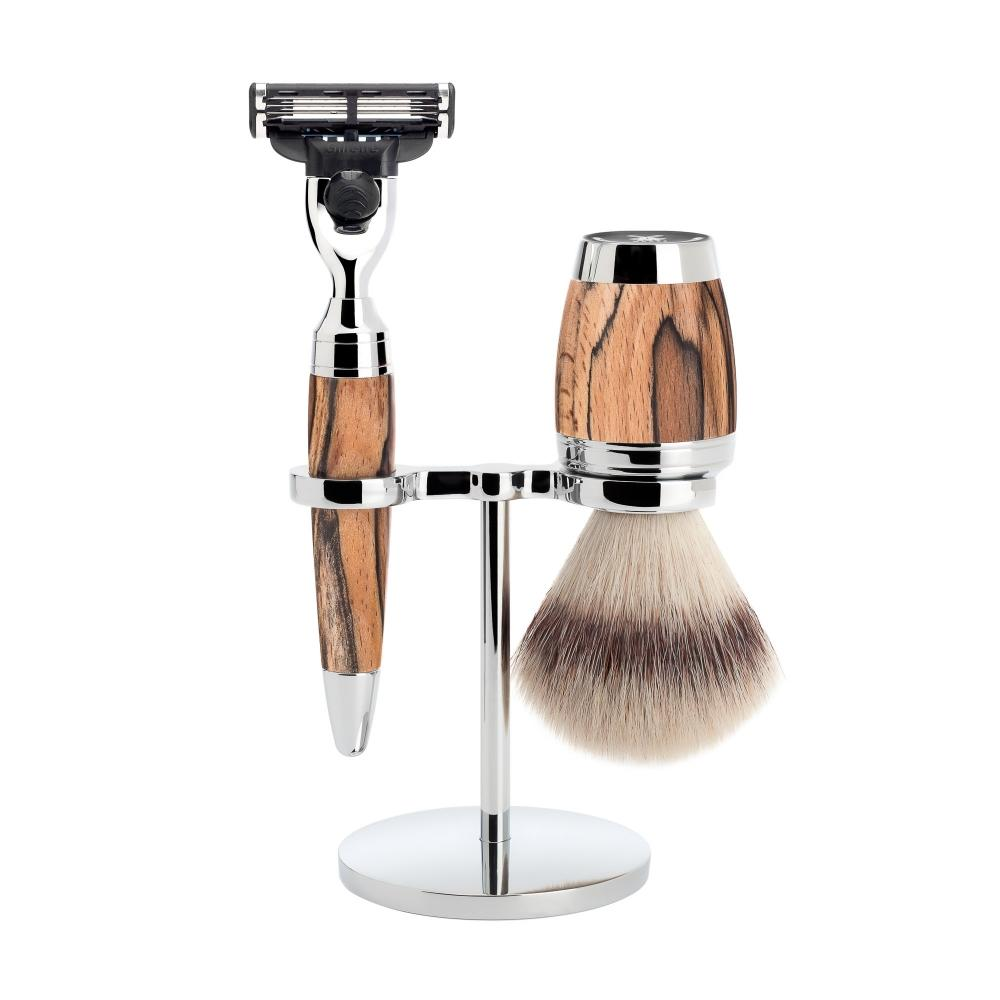 MÜHLE STYLO Spalted Beech 3-piece Silvertip Fibre / Mach3 Shaving Set