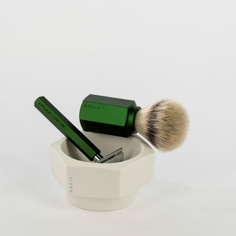 The MÜHLE HEXAGON Green Silvertip Fibre Shaving brush, Safety Razor and Shaving Bowl.