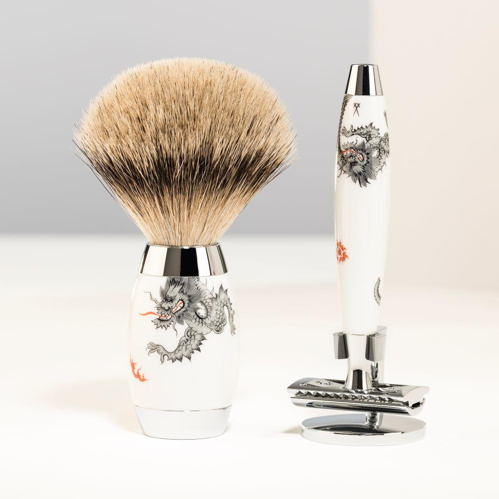 The MÜHLE EDITION MEISSEN Shaving Brush and Safety Razor