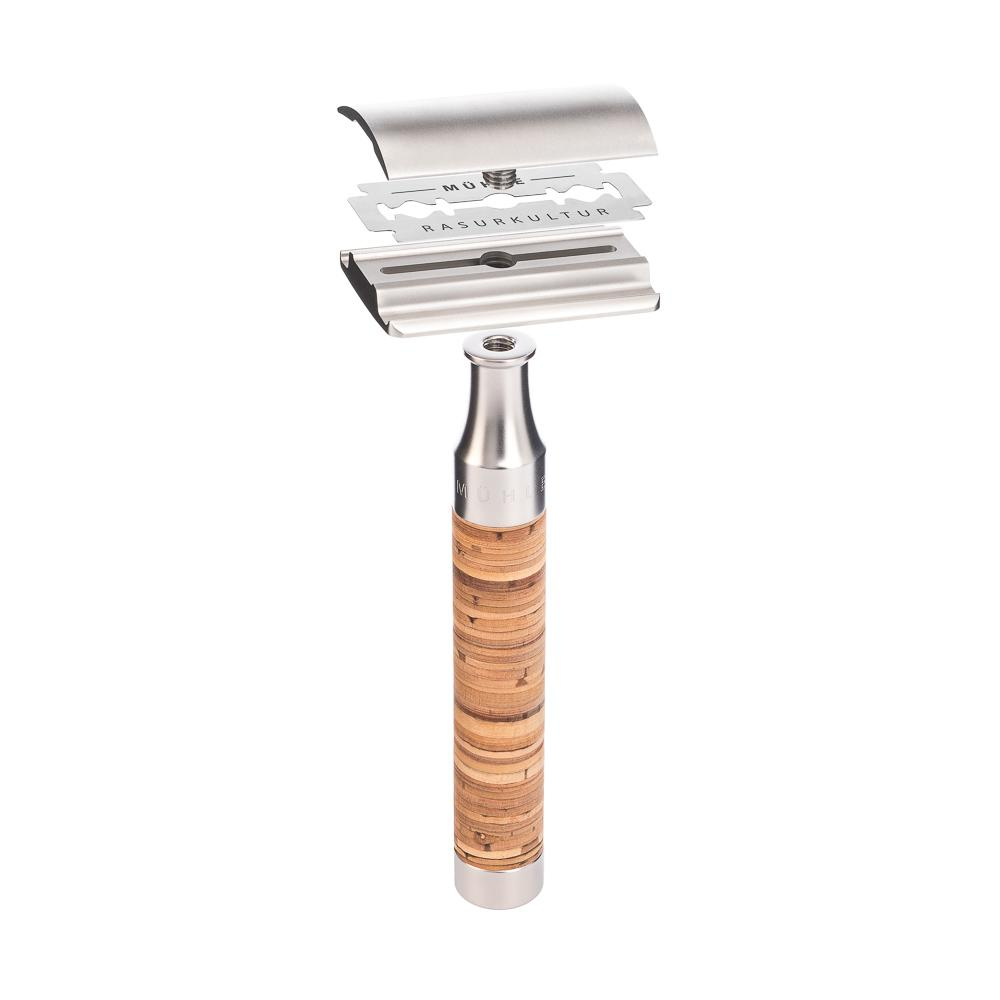 ROCCA Stainless Steel / Birch Bark Safety Razor