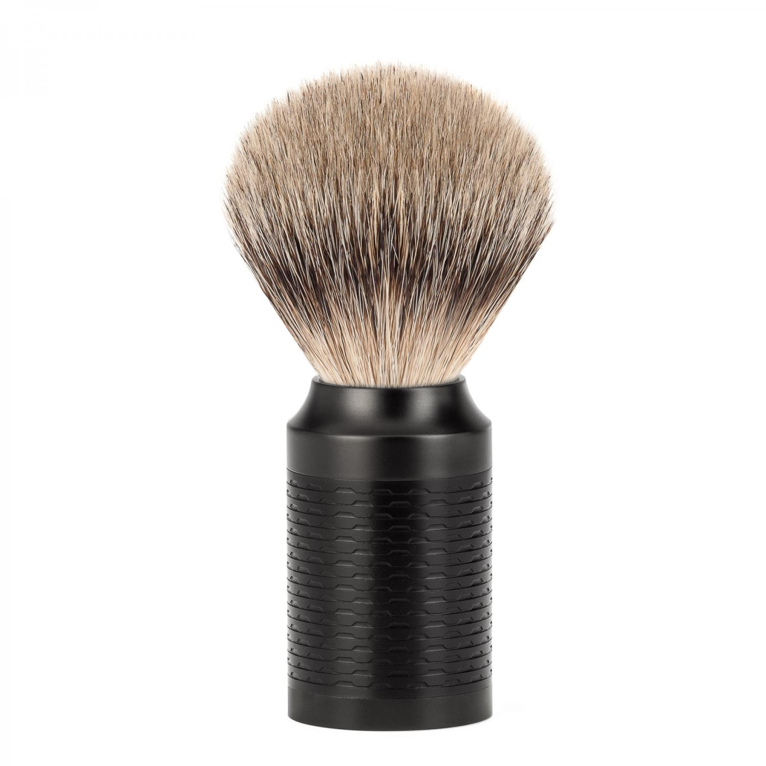 MUHLE ROCCA Black Steel Handle Silvertip Badger Shaving Brush
