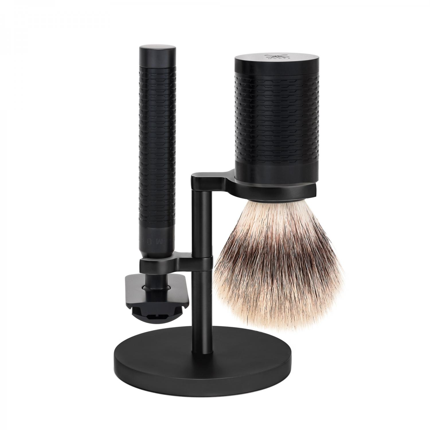 MÜHLE ROCCA Black Stainless Steel 3-Piece Silvertip Fibre/Safety Razor Shaving Set