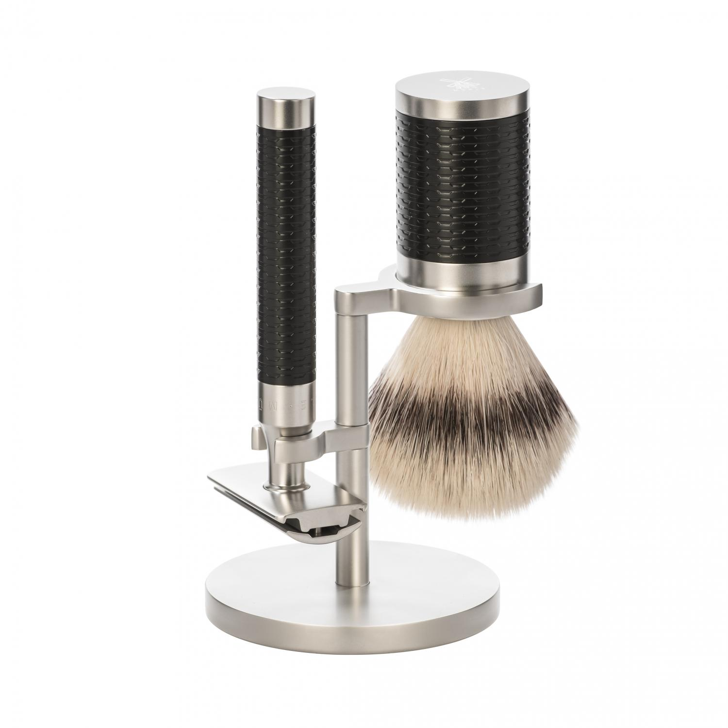 S31M96SR MÜHLE ROCCA Stainless Steel/Black 3-Piece Silvertip Fibre/Safety Razor Shaving Set