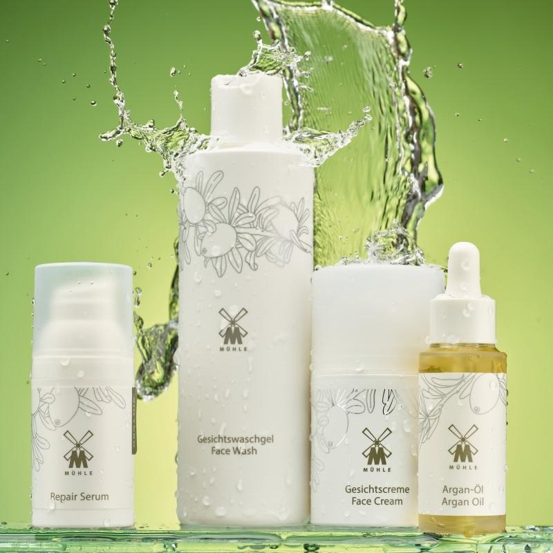 The ORGANIC Repair Serum, Face Wash, Face Cream and Argan Oil by MÜHLE