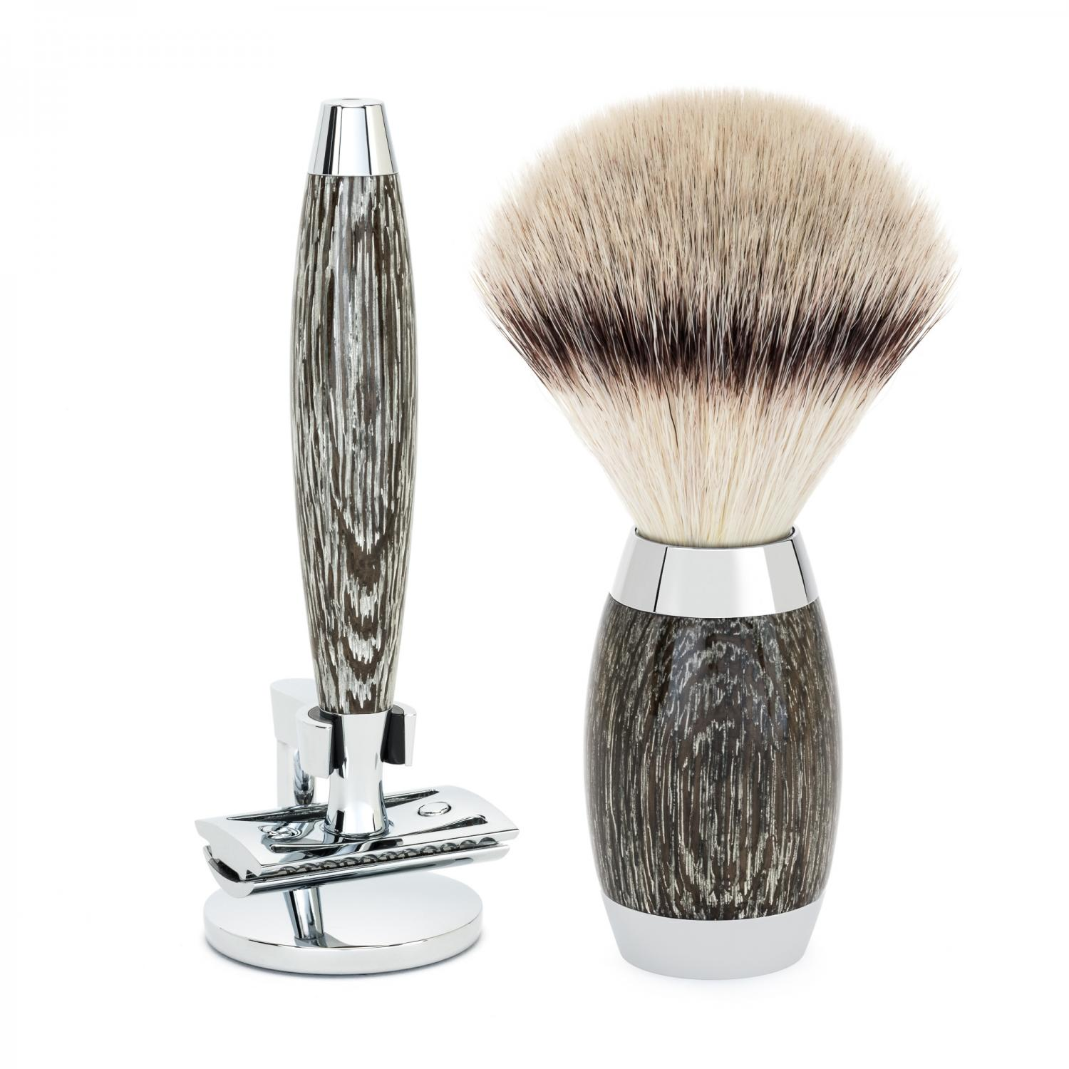 MUHLE EDITION Ancient Oak and Silver Handle Vegan Shaving Set