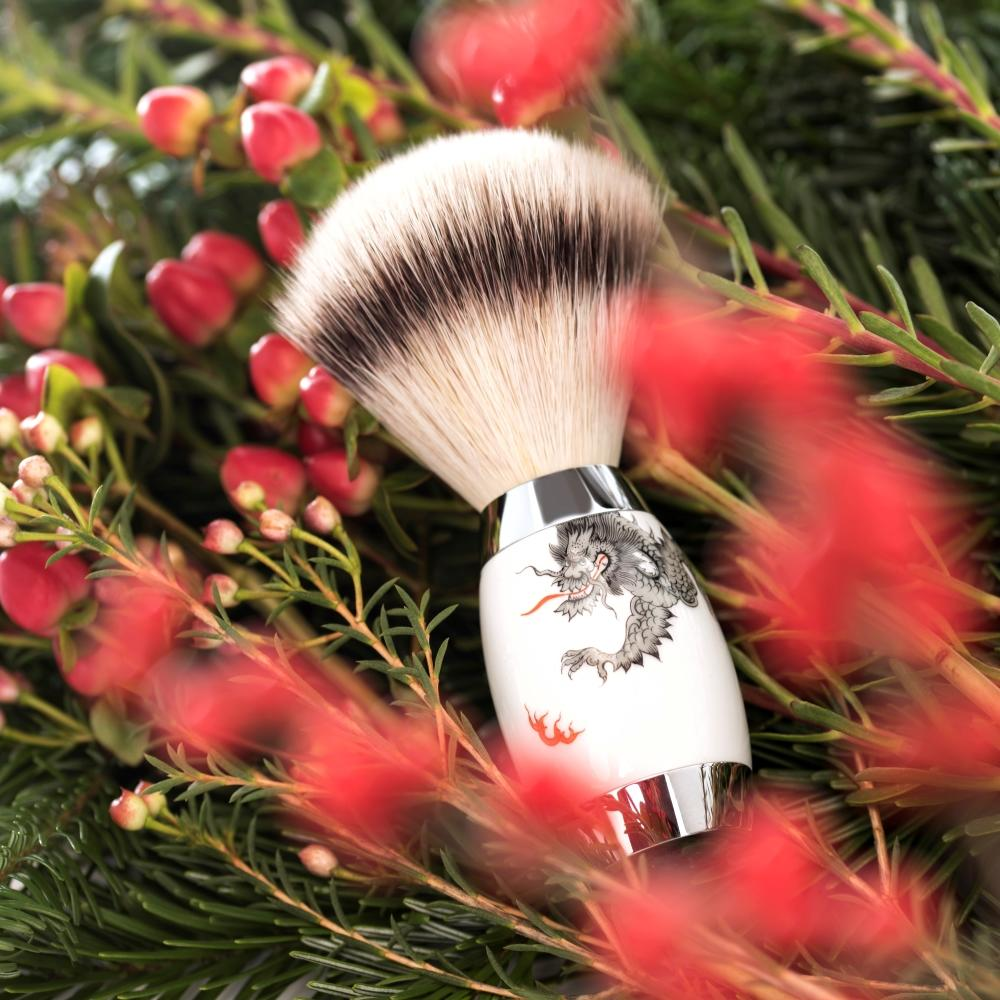 Pictured: The EDITION Meissen Shaving Brush in Silvertip Fibre by MÜHLE
