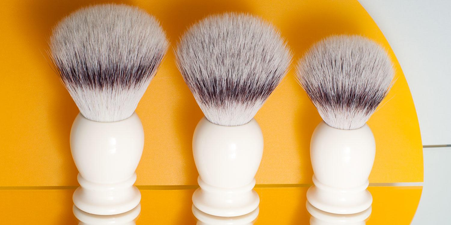 Pictured: The CLASSIC Faux Ivory Silvertip Fibre shaving brushes in Small, Medium and Large
