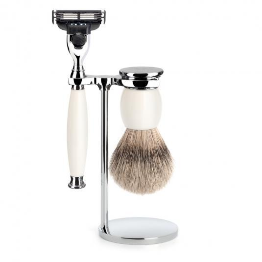 MUHLE SOPHIST Silvertip Badger Brush and Mach3 Shaving Set in Porcelain - S93P84M3