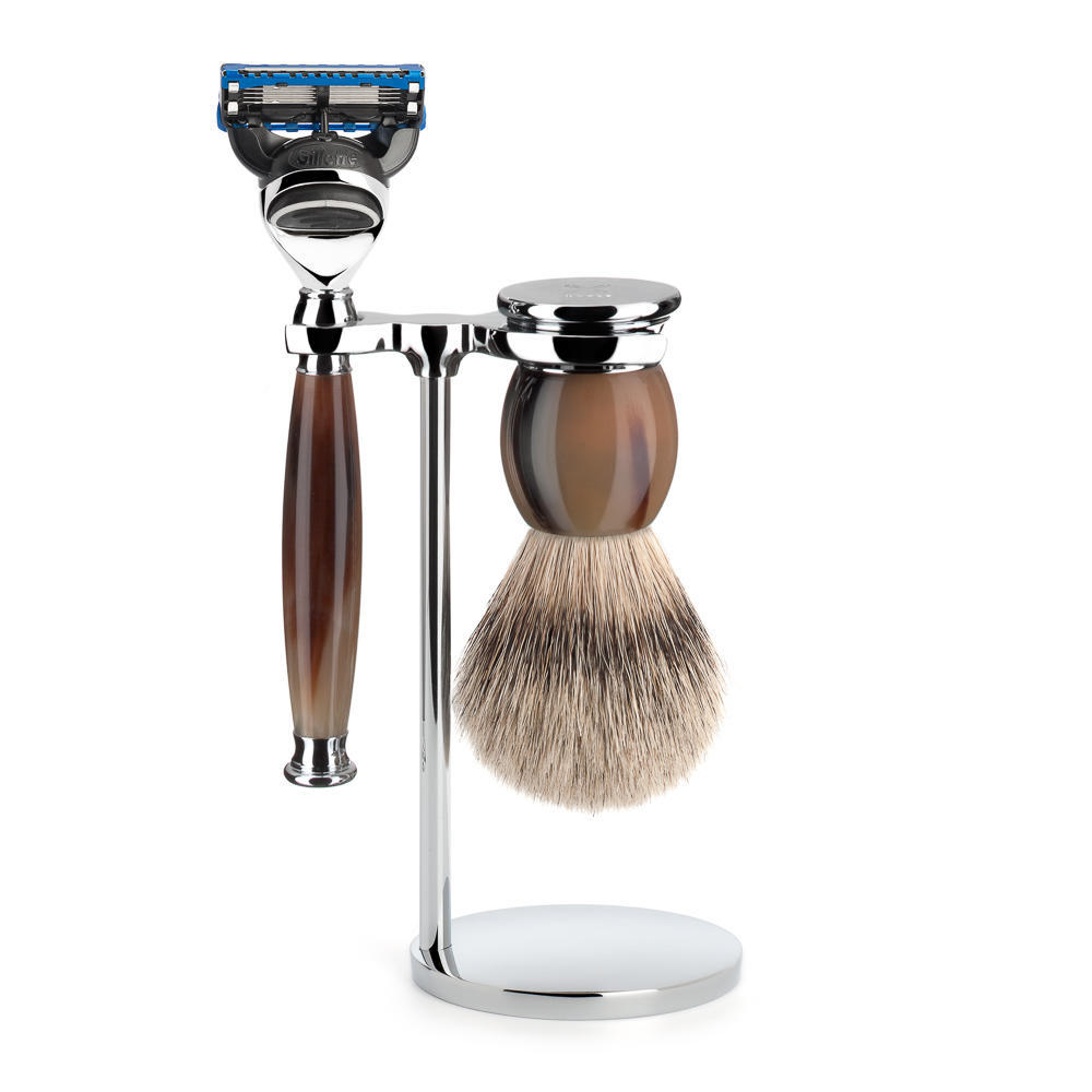 MUHLE SOPHIST Silvertip Badger Brush and Fusion Razor Shaving Set in Genuine Horn with Stand - S93B42F
