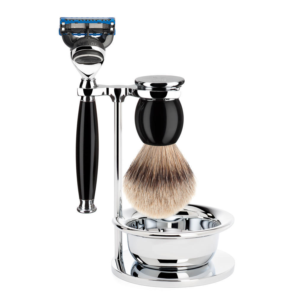 MUHLE SOPHIST Silvertip Badger Brush and Fusion Shaving Set in Black with Bowl and Stand - S93K44SF