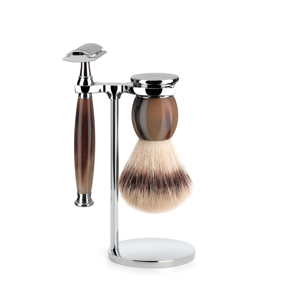 MUHLE SOPHIST Silvertip Fibre Brush and Safety Razor Shaving Set in Horn with Stand - S33B42SR