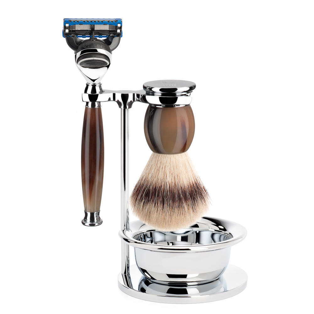 MUHLE SOPHIST Silvertip Fibre Brush and Fusion Razor Shaving Set in Horn with Bowl and Stand - S33B42SF
