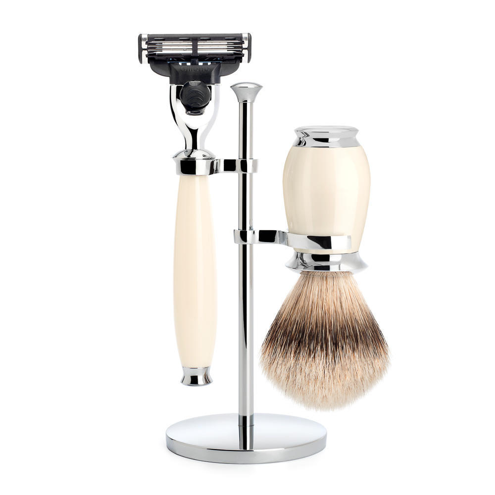MUHLE PURIST Silvertip Badger Brush and Mach3 Razor Shaving Set in Ivory with Stand - S091K57M3