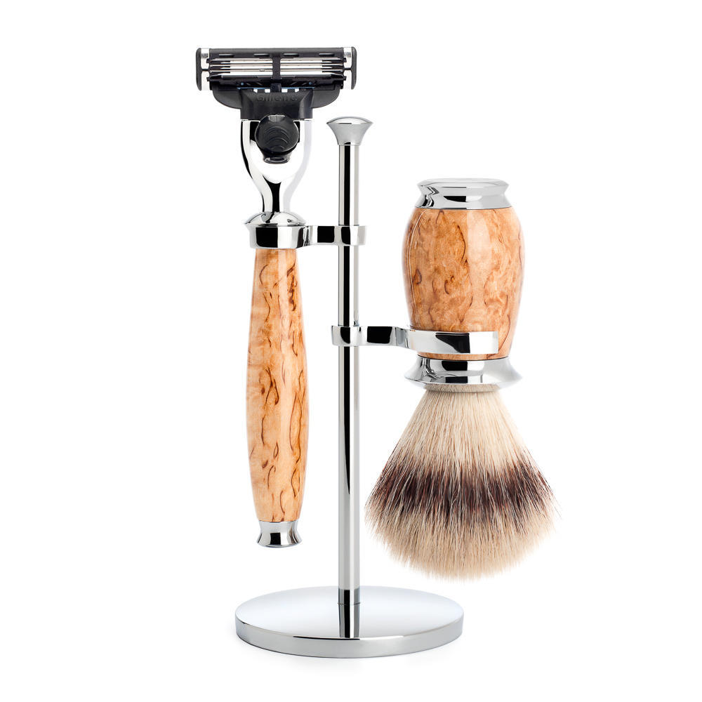 MUHLE PURIST Karelian Masur Birch Silvertip Fibre Shaving Brush and Mach3 Razor Shaving Set with Stand - S31H55M3