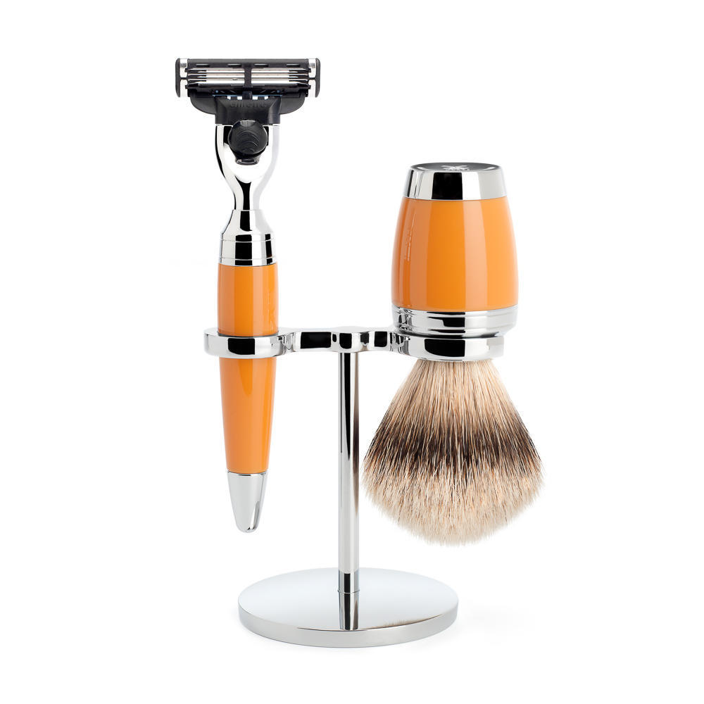 MÜHLE STYLO Shaving Set in Butterscotch, 3-piece Incl. silvertip sadgershaving brush and Mach3 razor