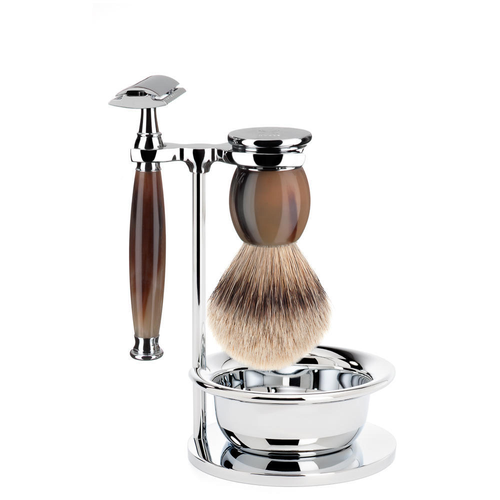 MUHLE SOPHIST Silvertip Badger Brush and Safety Razor Shaving Set in Genuine Horn with Bowl and Stand - S93B42SSR