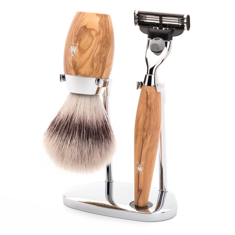MÜHLE KOSMO 3-piece shaving set in olive wood Incl. silvertip fibre shaving brush and Mach3 razor