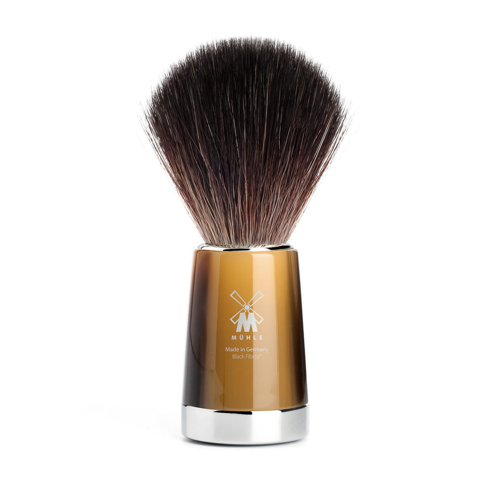 MUHLE LISCIO Brown Horn Resin Handle, Black Fibre Shaving Brush - 21M142