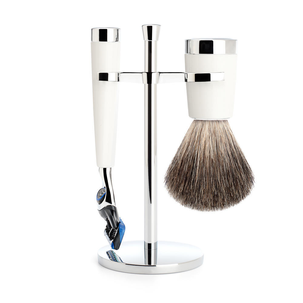 MUHLE LISCIO White 3-piece Pure Badger Brush and Fusion Razor Shaving Set - S81M147F