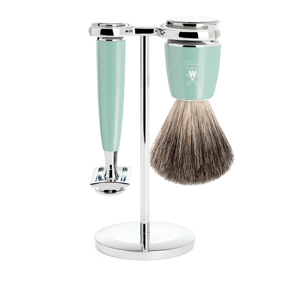 MUHLE RYTMO Mint Resin 3-piece Pure Badger Brush and Safety Razor Shaving Set - S81M224SR